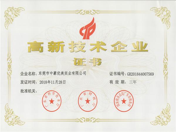 中豪优美-高新技术企业证书